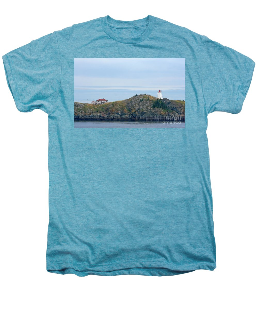 Lighthouse Men's Premium T-Shirt featuring the photograph Swallowtail Lighthouse And Keeper by Thomas Marchessault