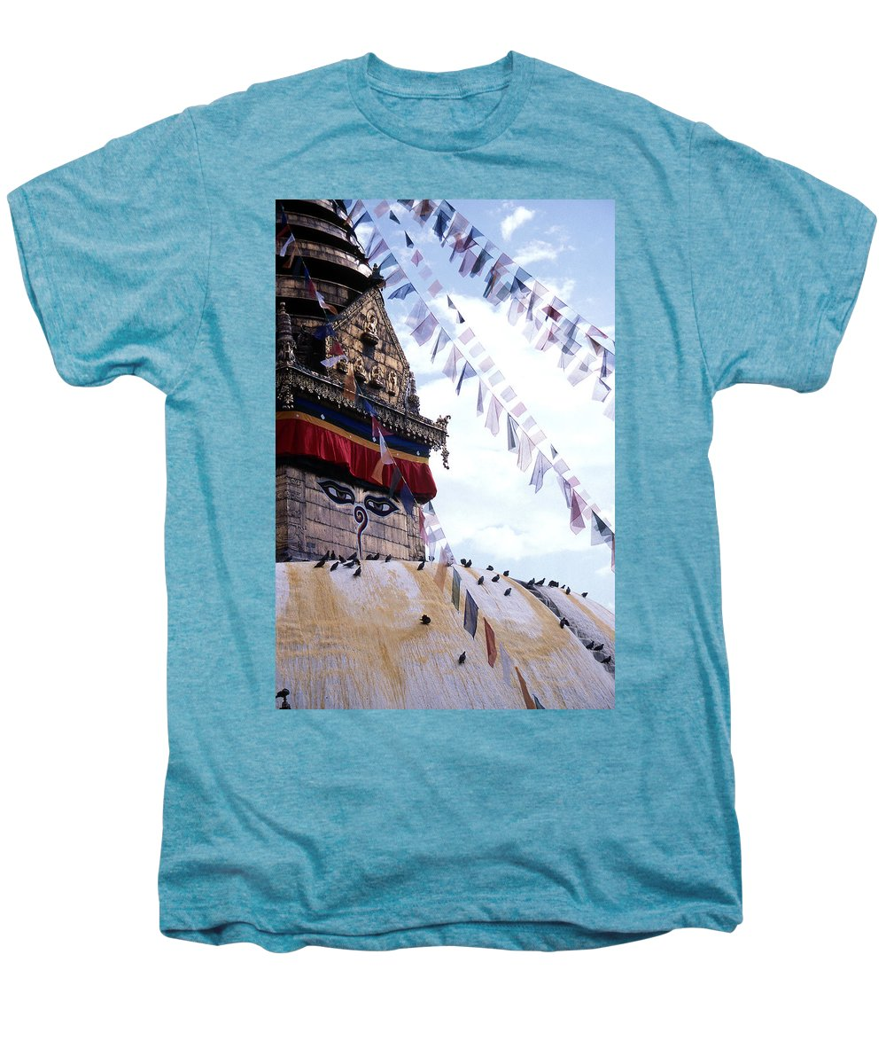 Swayambhunath Stupa Men's Premium T-Shirt featuring the photograph Swayambhunath II by Patrick Klauss