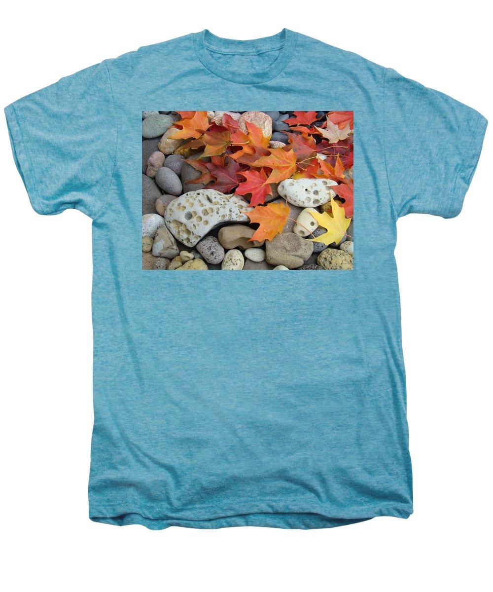 Art Men's Premium T-Shirt featuring the photograph Sweet Autumn 1 Autumn Leaves Rock Designs Photography Digital Art Prints by Baslee Troutman
