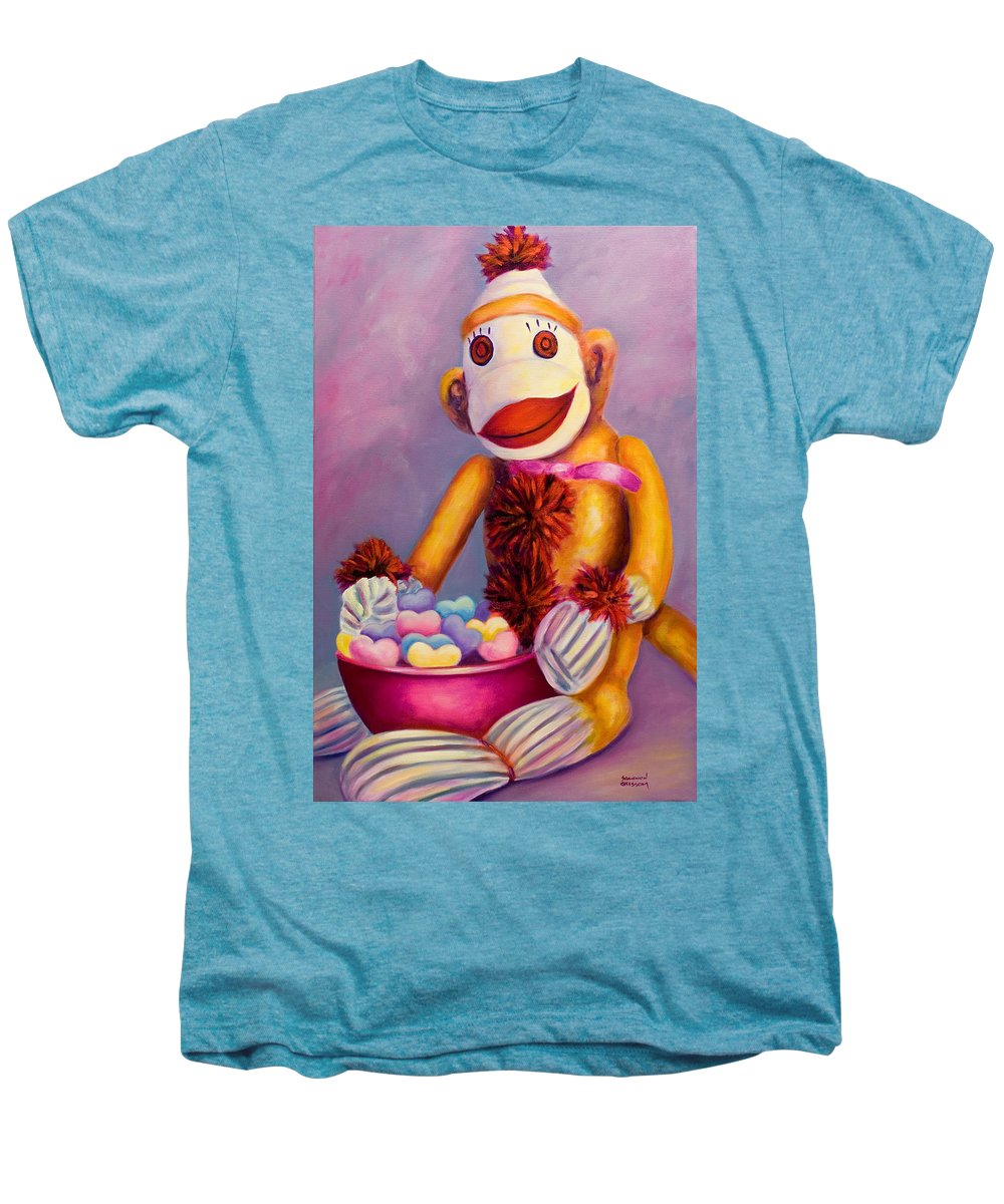Heart Men's Premium T-Shirt featuring the painting Sweetheart Made Of Sockies by Shannon Grissom