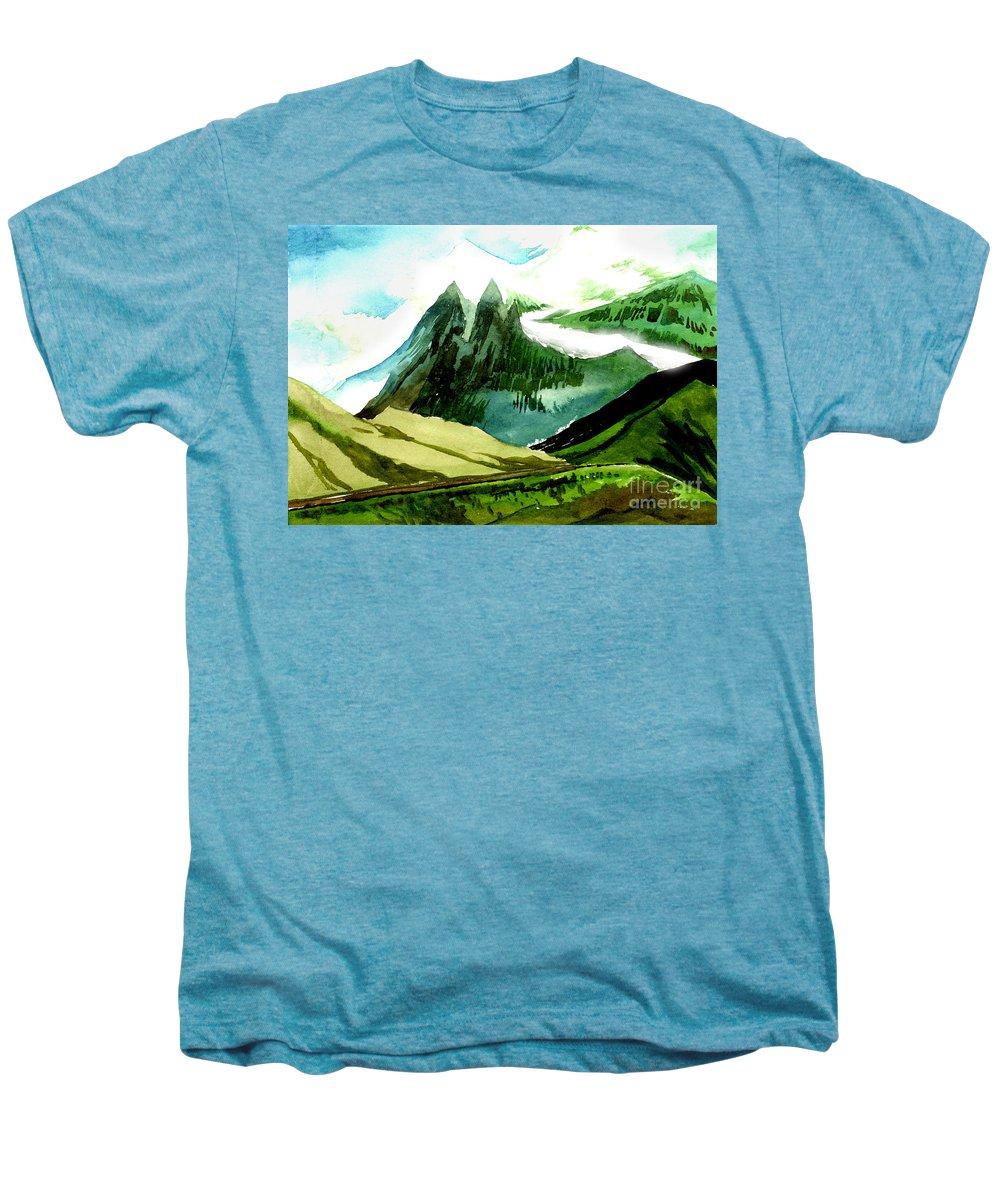 Landscape Men's Premium T-Shirt featuring the painting Switzerland by Anil Nene
