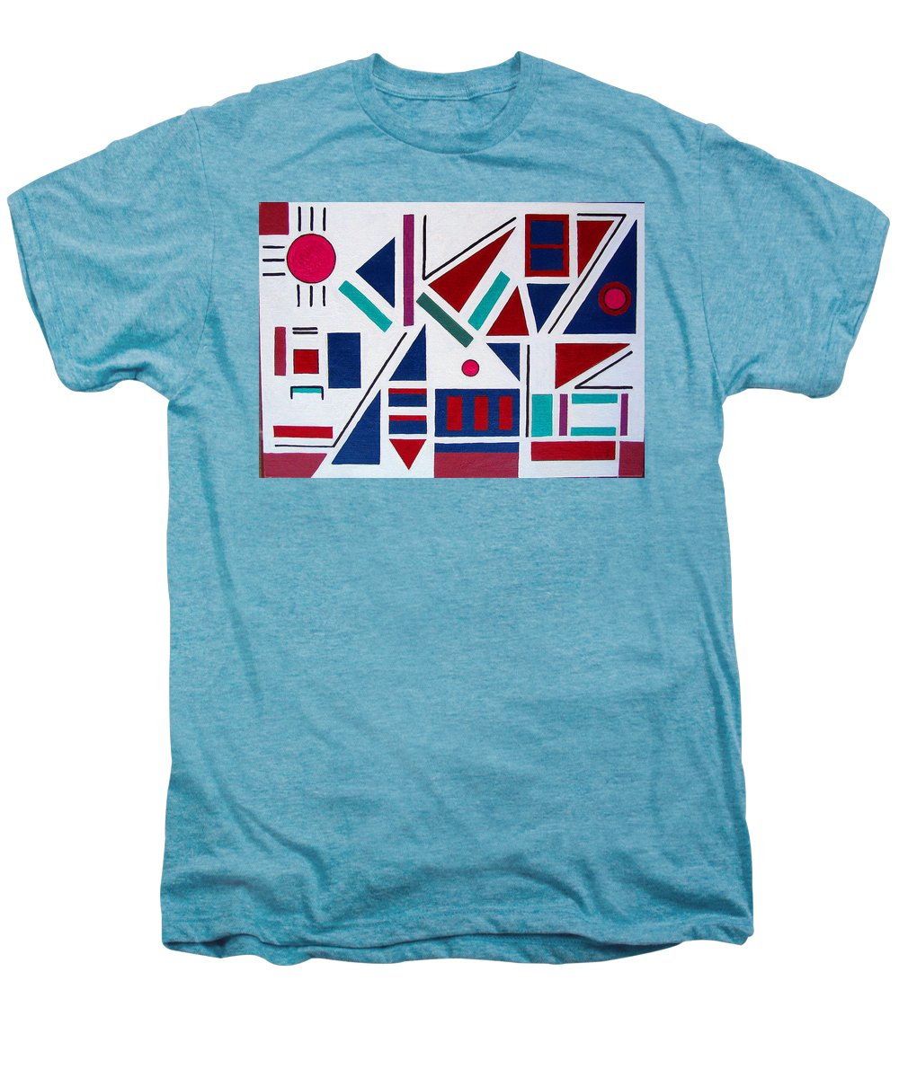 Abstract Men's Premium T-Shirt featuring the painting Symmetry In Blue Or Red by Marco Morales