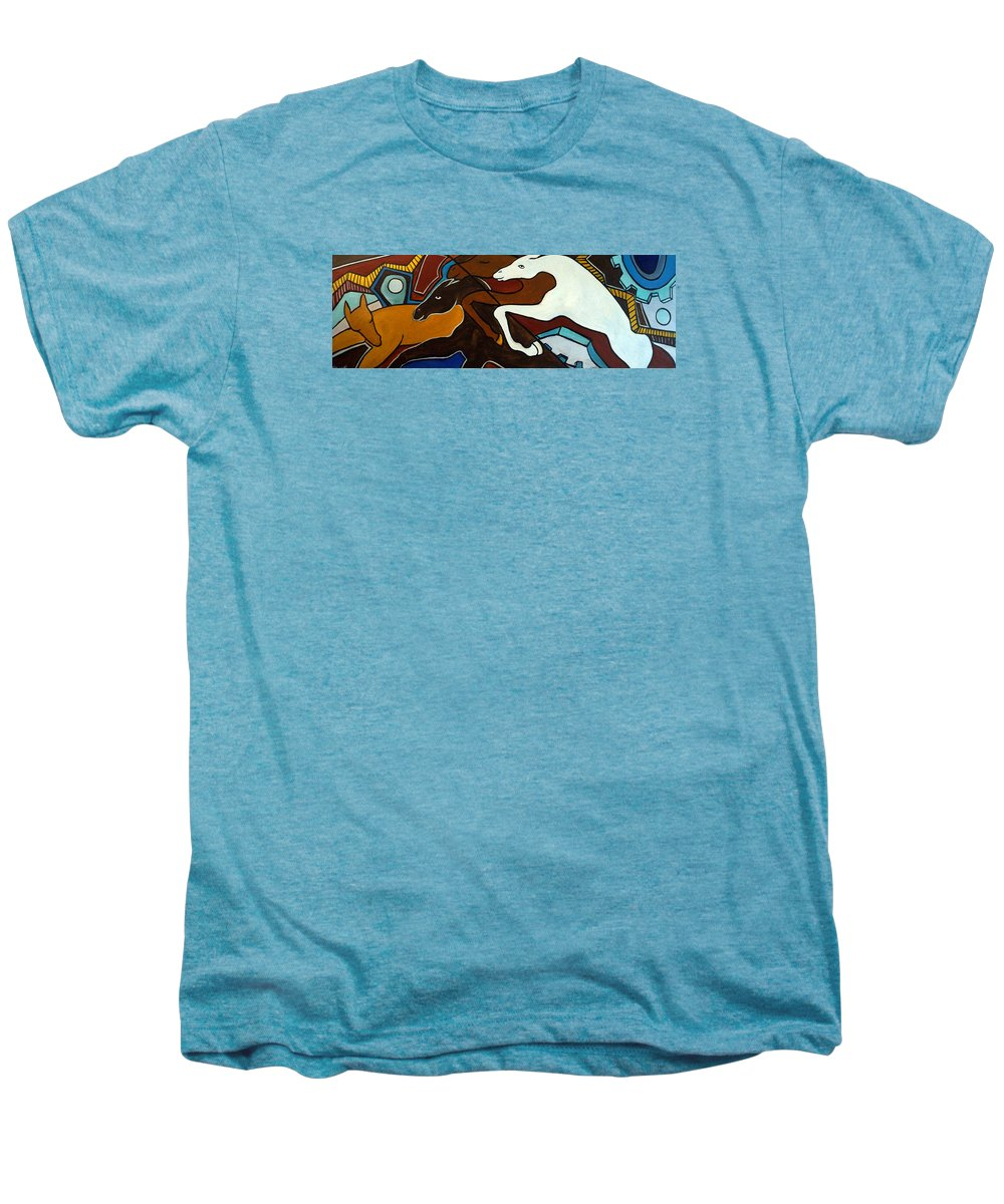 Horse Abstract Men's Premium T-Shirt featuring the painting Taffy Horses by Valerie Vescovi