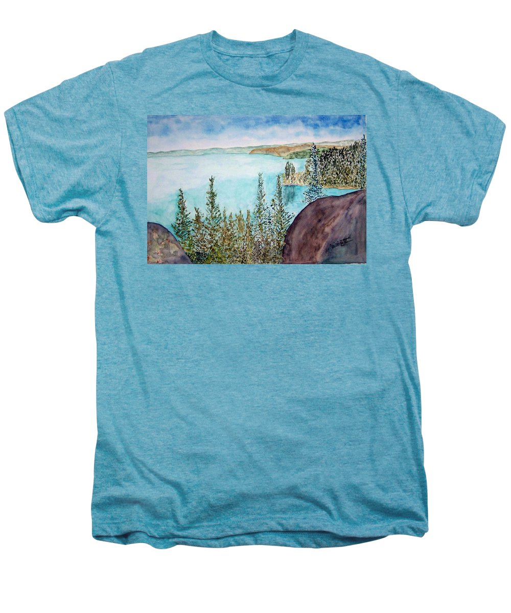 Tahoe Men's Premium T-Shirt featuring the painting Tahoe Remembered by Larry Wright