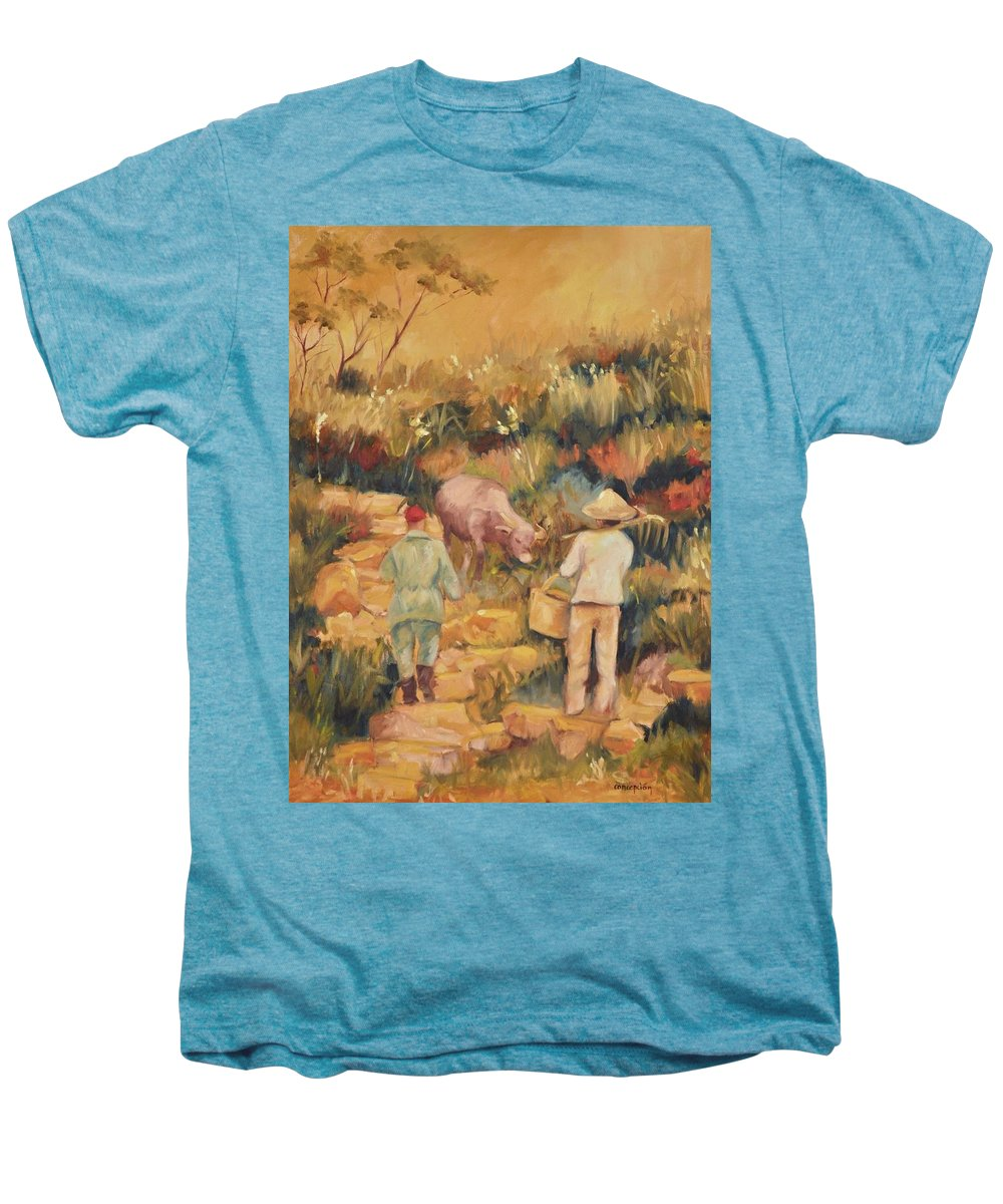 Water Buffalo Men's Premium T-Shirt featuring the painting Taipei Buffalo Herder by Ginger Concepcion