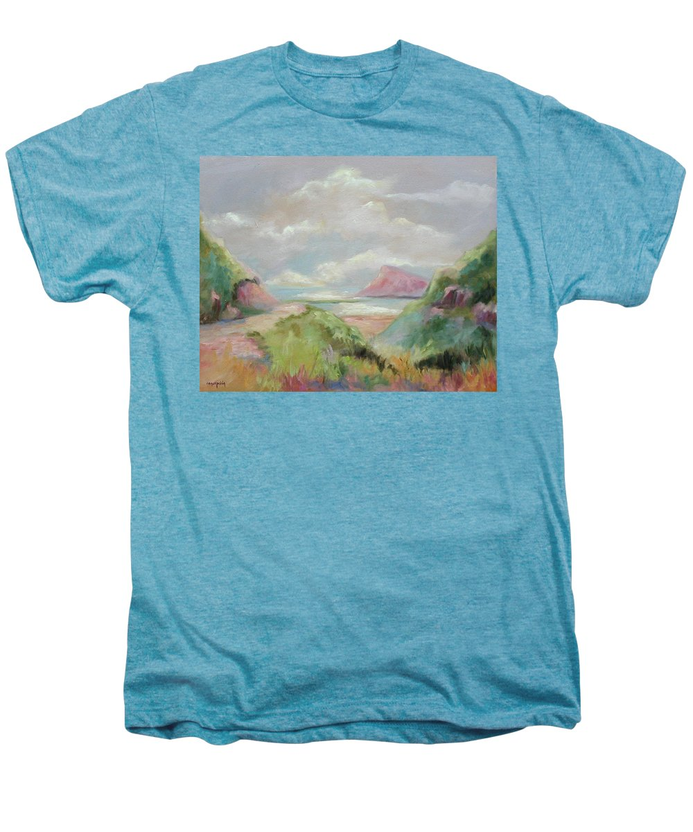 Seascape Men's Premium T-Shirt featuring the painting Taiwan Inlet by Ginger Concepcion