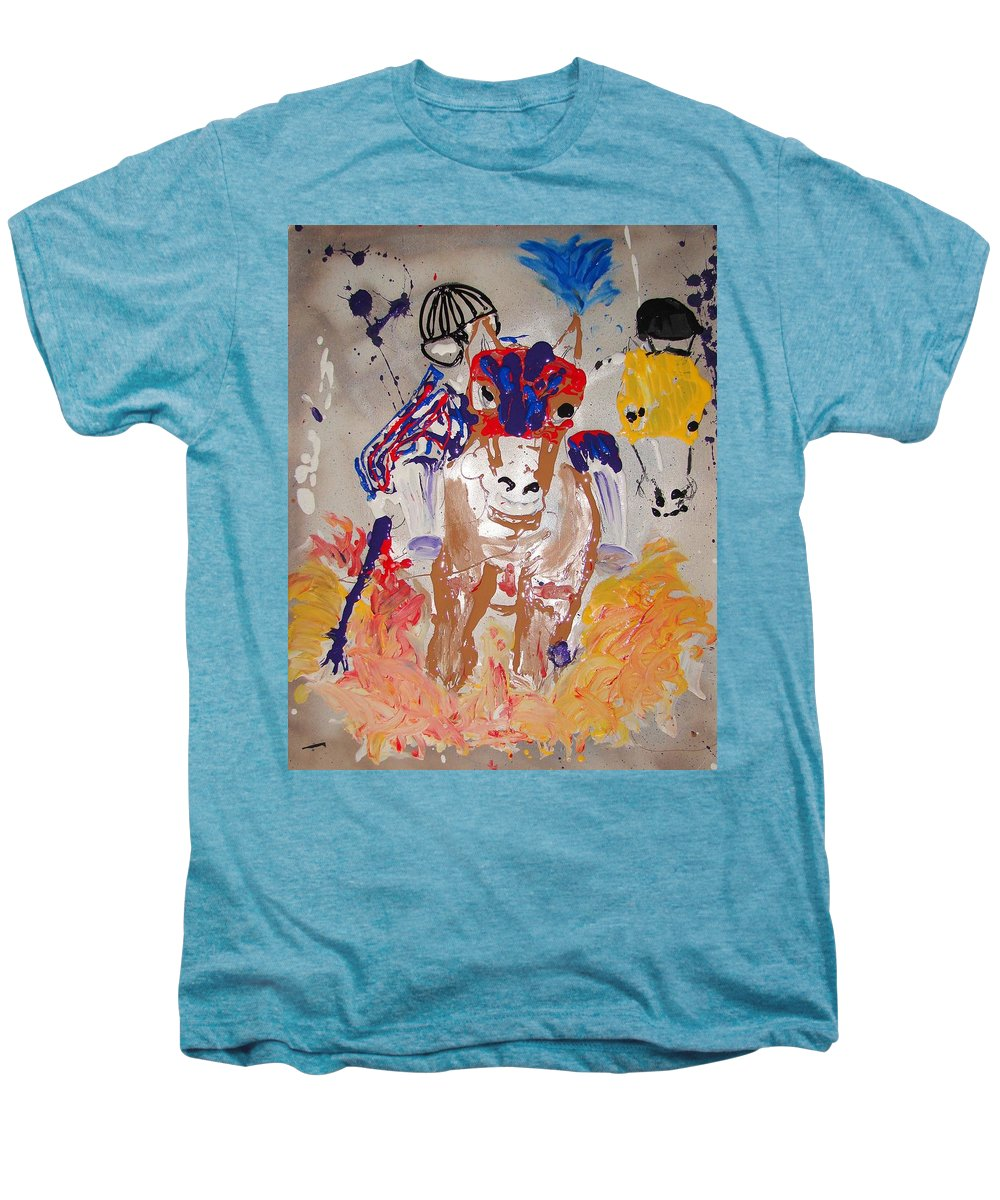 Horse Men's Premium T-Shirt featuring the mixed media Taking The Lead by J R Seymour