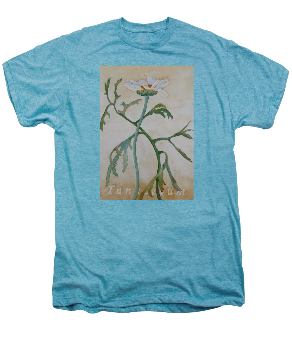 Flower Men's Premium T-Shirt featuring the painting Tanacetum by Ruth Kamenev