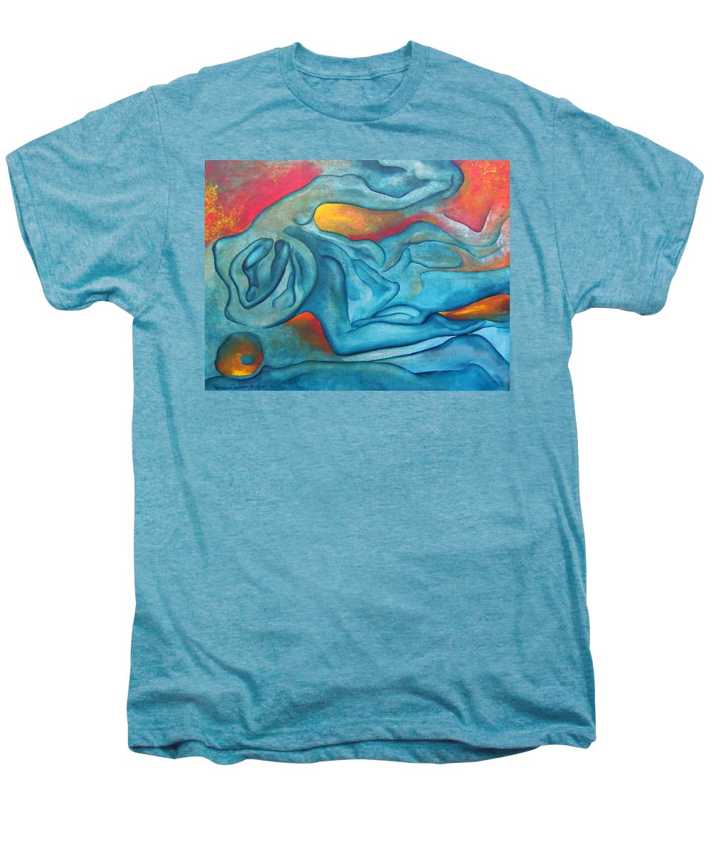 Abstract Blues Love Passion Sensual Earth Men's Premium T-Shirt featuring the painting Tangled Up by Veronica Jackson