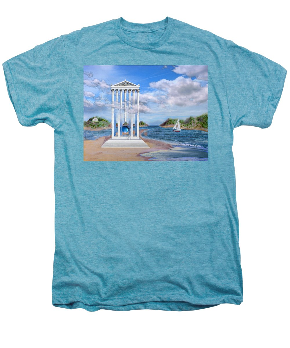 Landscape Men's Premium T-Shirt featuring the painting Temple For No One by Steve Karol