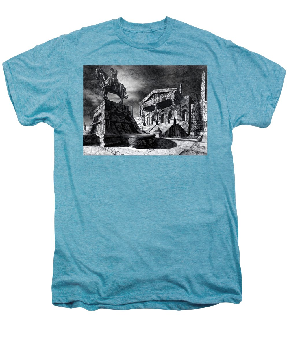 Greek Architecture Men's Premium T-Shirt featuring the drawing Temple Of Perseus by Curtiss Shaffer