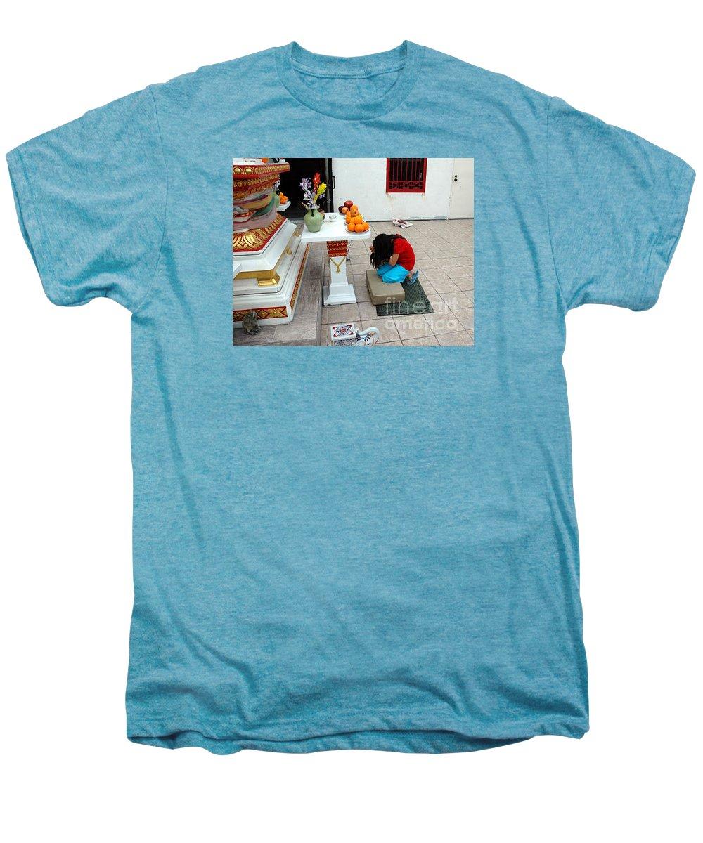 Child Men's Premium T-Shirt featuring the photograph Temple Prayer by Michael Ziegler