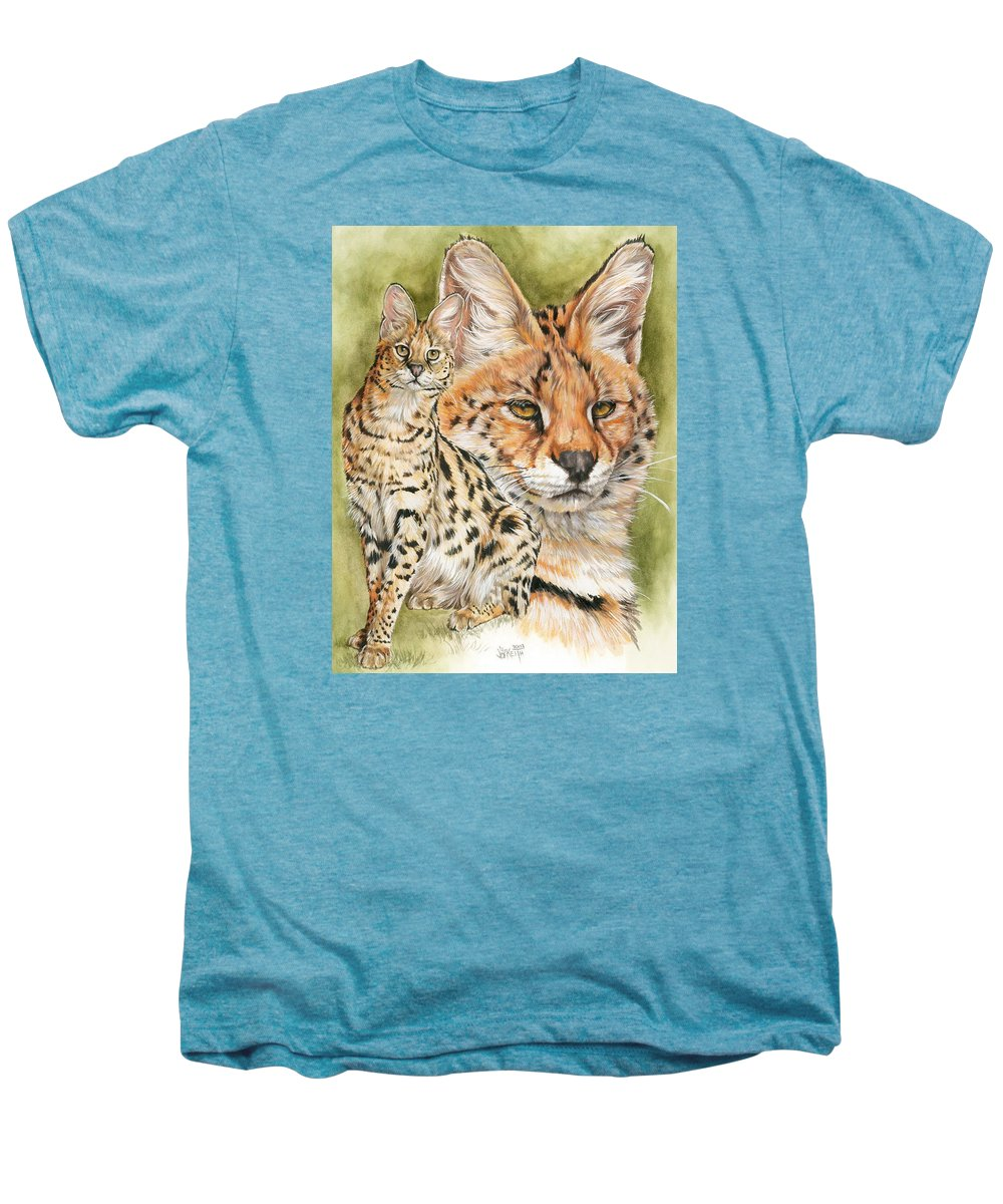 Serval Men's Premium T-Shirt featuring the mixed media Tempo by Barbara Keith