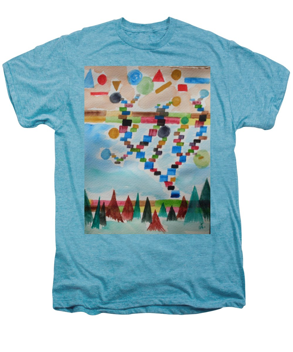 Abstract Men's Premium T-Shirt featuring the painting Tetrus Meets Nature by Warren Thompson