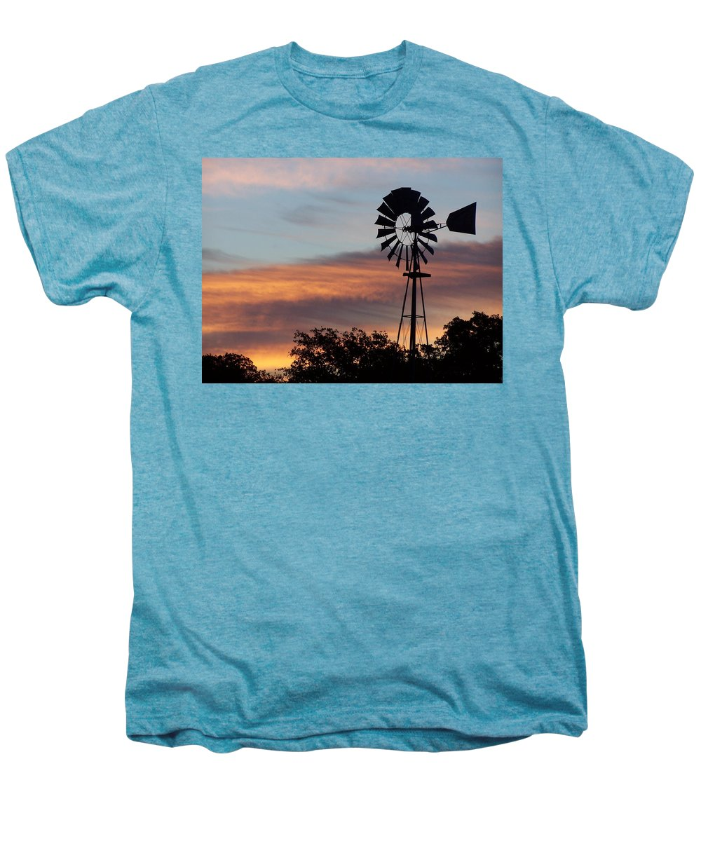 Windmill Men's Premium T-Shirt featuring the photograph Texas Sunrise by Gale Cochran-Smith