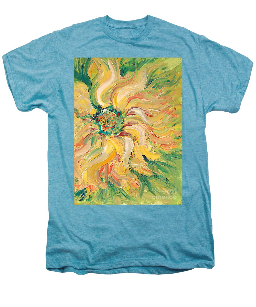 Texture Men's Premium T-Shirt featuring the painting Textured Green Sunflower by Nadine Rippelmeyer