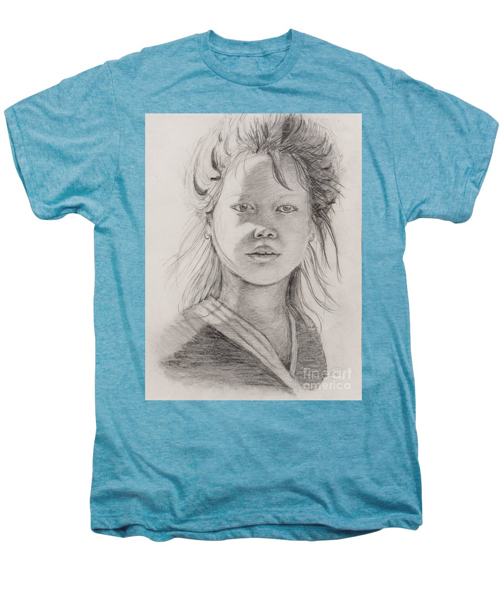 Portrait Men's Premium T-Shirt featuring the drawing Thai Beauty by Nadine Rippelmeyer
