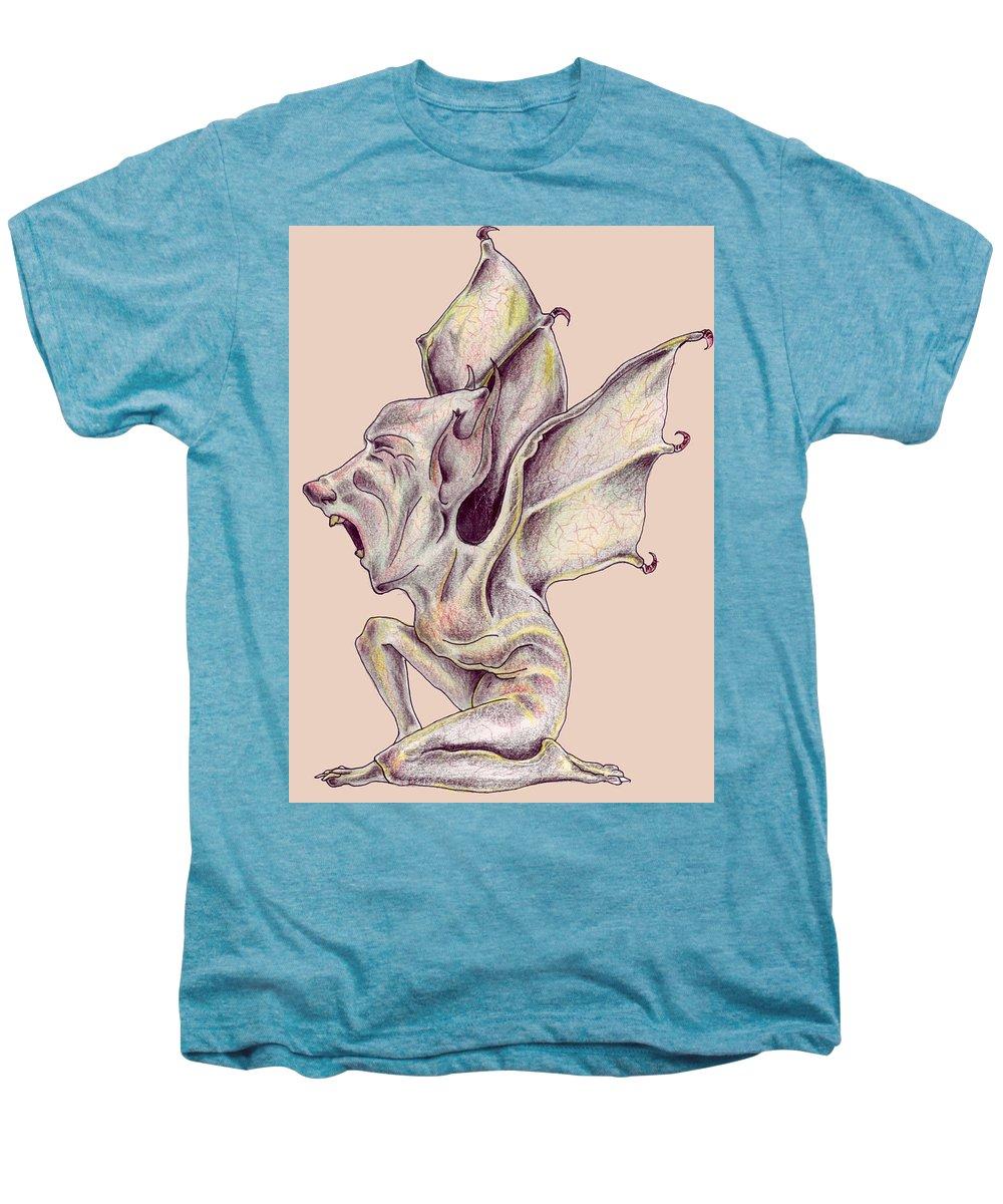 Bat Rat Man Drawings Color Pencil Men's Premium T-Shirt featuring the drawing That Bat Man Rat by Veronica Jackson