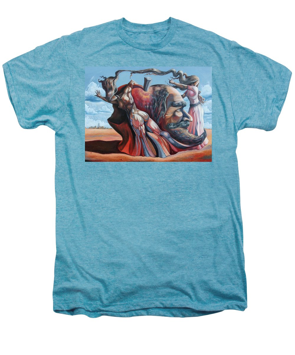 Surrealism Men's Premium T-Shirt featuring the painting The Adam-eve Delusion by Darwin Leon