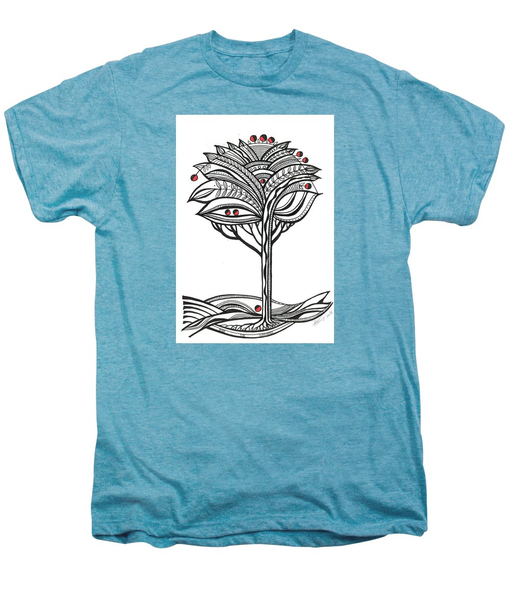 Abstract Men's Premium T-Shirt featuring the drawing The Apple Tree by Aniko Hencz