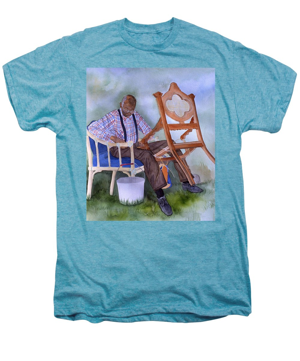 Portrait Men's Premium T-Shirt featuring the painting The Art Of Caning by Jean Blackmer