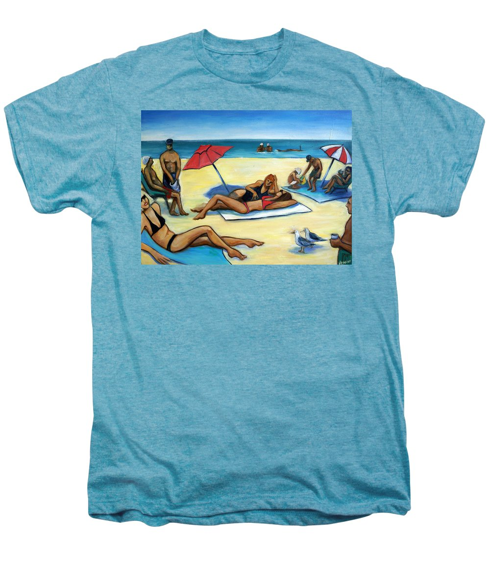 Beach Scene Men's Premium T-Shirt featuring the painting The Beach by Valerie Vescovi