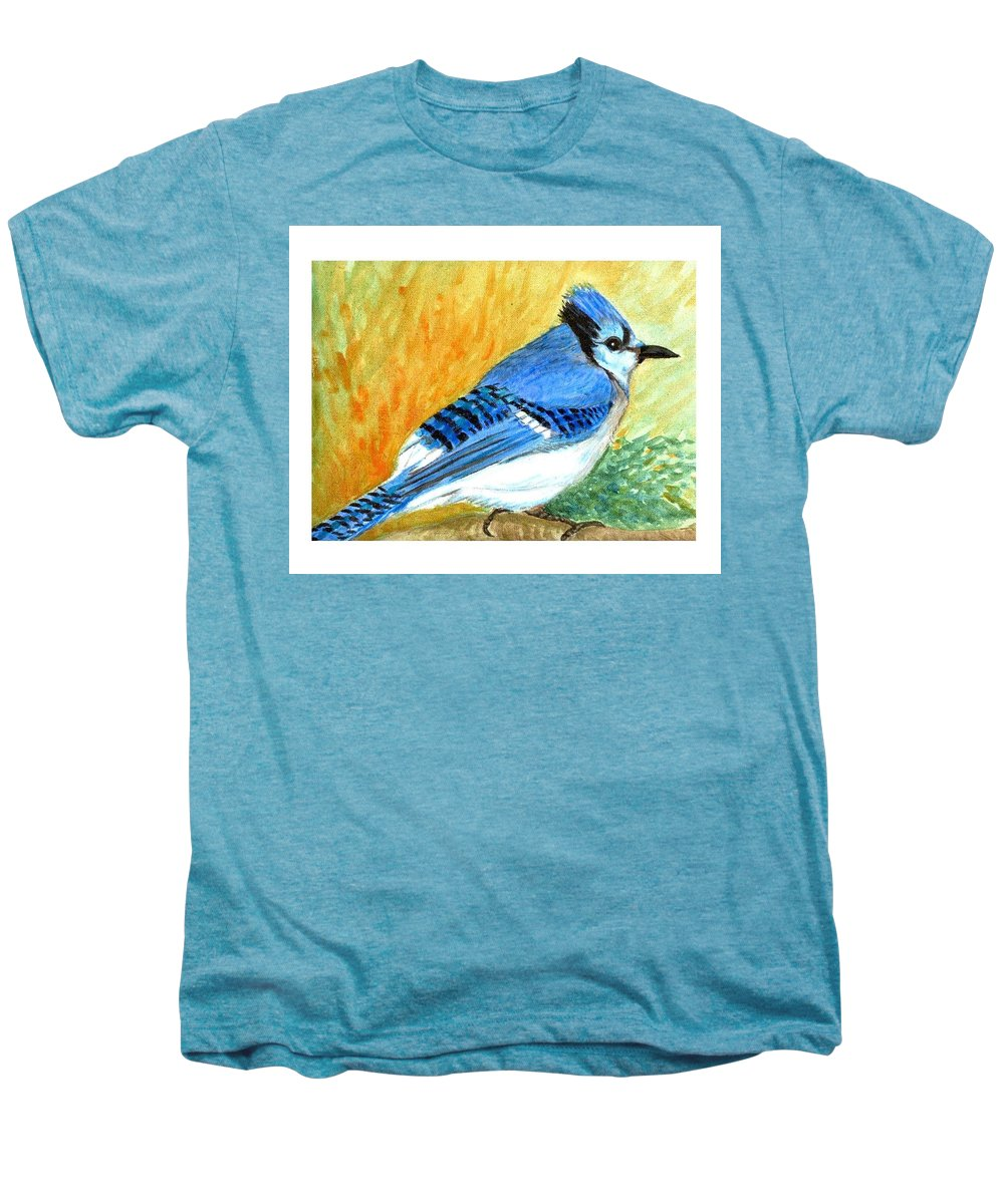 Bird Men's Premium T-Shirt featuring the painting The Blue Jay by Asha Sudhaker Shenoy