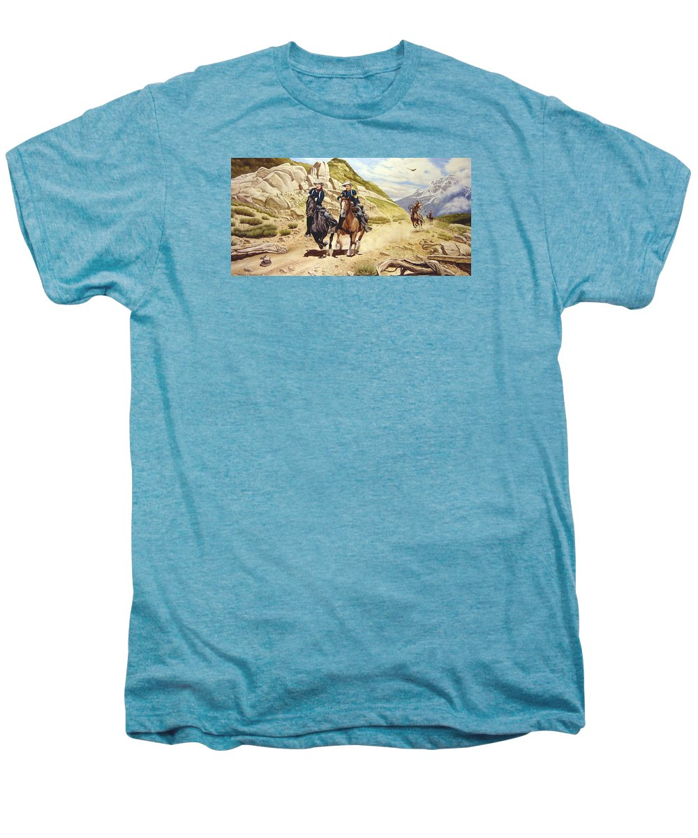 Western Men's Premium T-Shirt featuring the painting The Chase by Marc Stewart