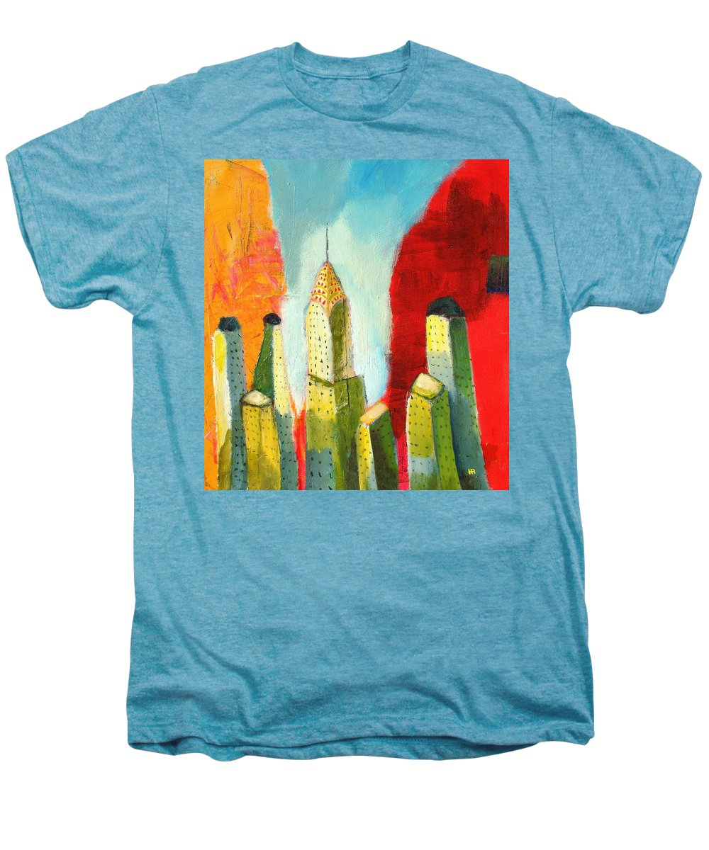 Abstract Cityscape Men's Premium T-Shirt featuring the painting The Chrysler In Colors by Habib Ayat
