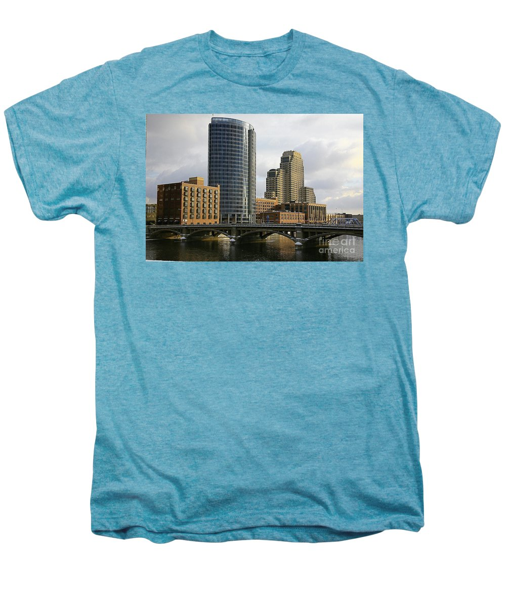 City Men's Premium T-Shirt featuring the photograph The City Grand Rapids Mi-2 by Robert Pearson