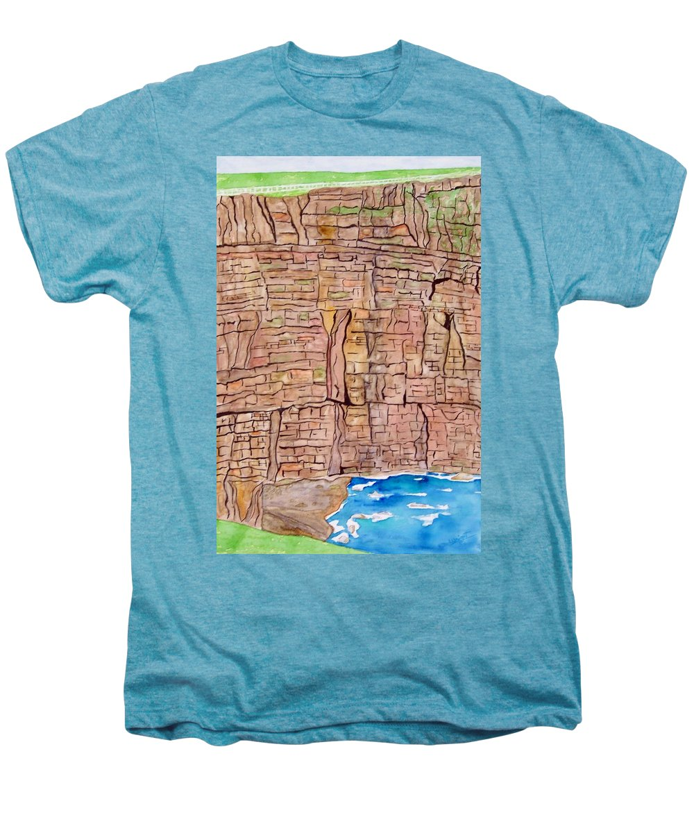 Ireland Art Men's Premium T-Shirt featuring the painting The Cliffs Of Mohr In Ireland by Larry Wright