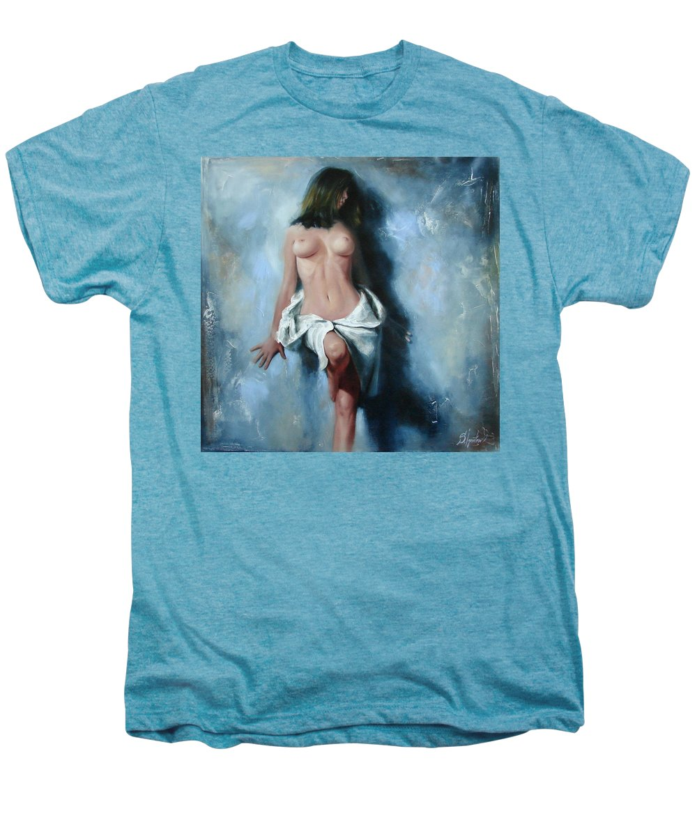 Oil Men's Premium T-Shirt featuring the painting The Cold Senses by Sergey Ignatenko