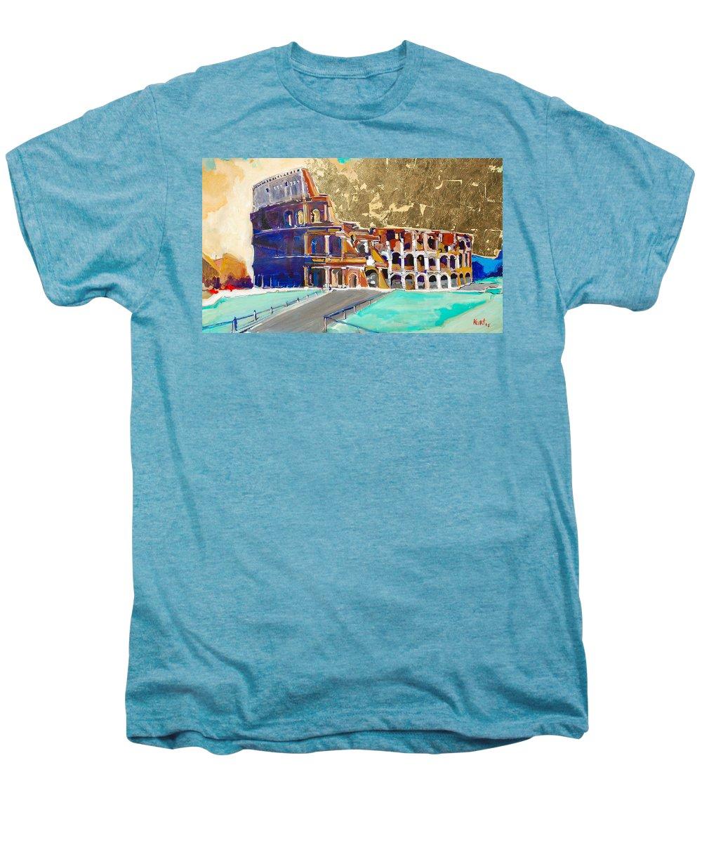 Colosseum Men's Premium T-Shirt featuring the painting The Colosseum by Kurt Hausmann