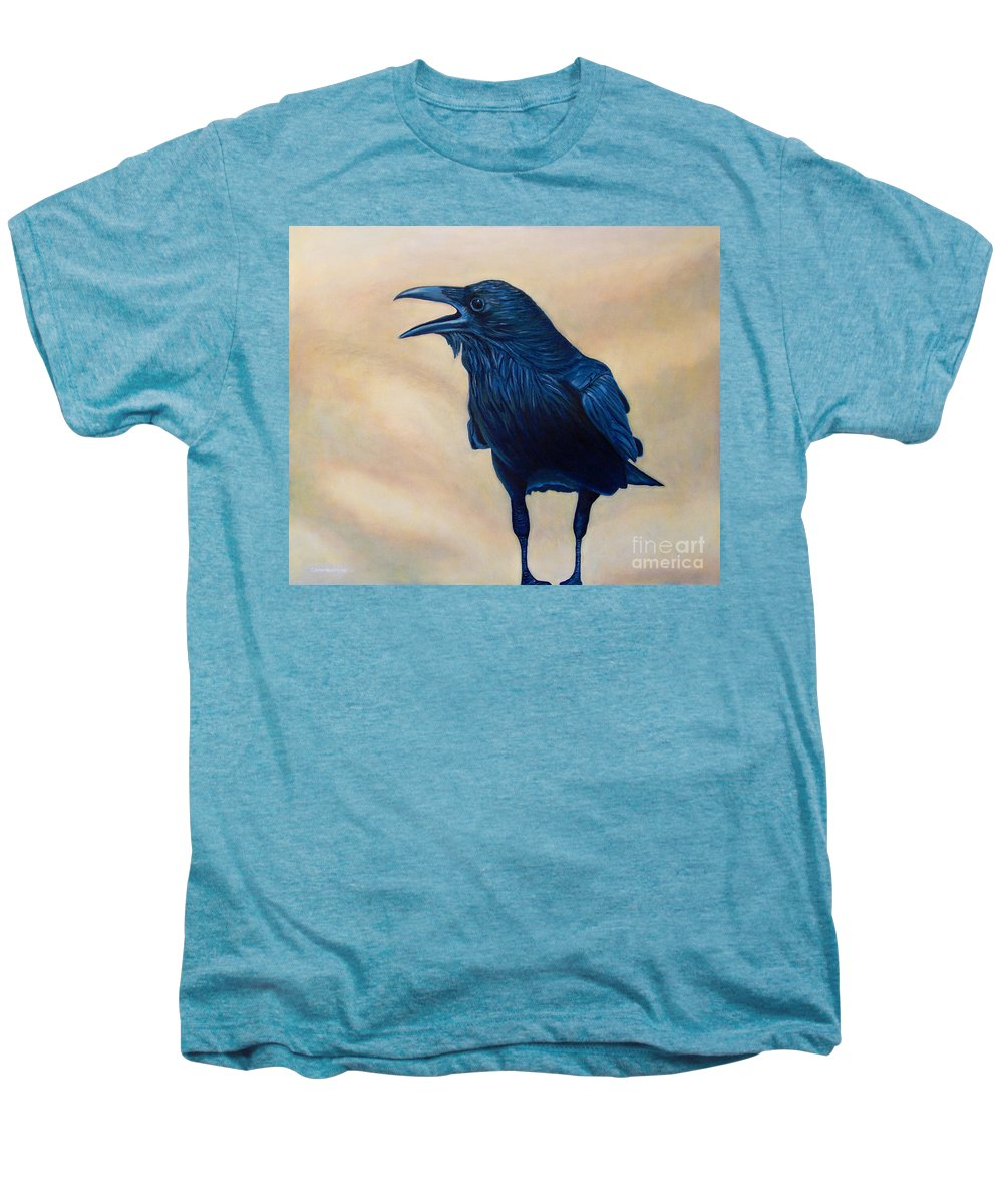 Raven Men's Premium T-Shirt featuring the painting The Conversation by Brian Commerford