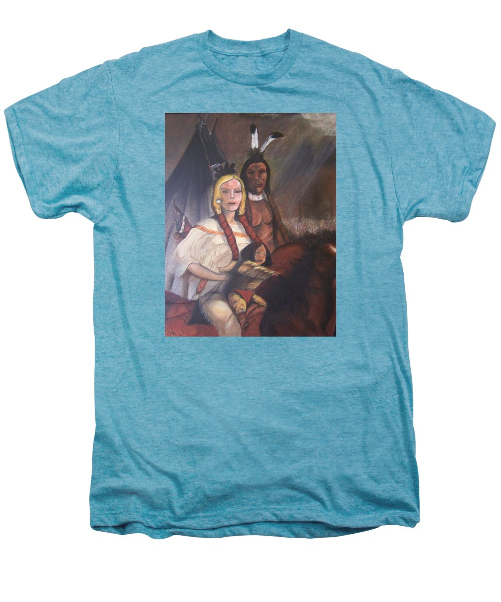 Artwork Men's Premium T-Shirt featuring the painting The Cynthia Ann Parker Family by Laurie Kidd