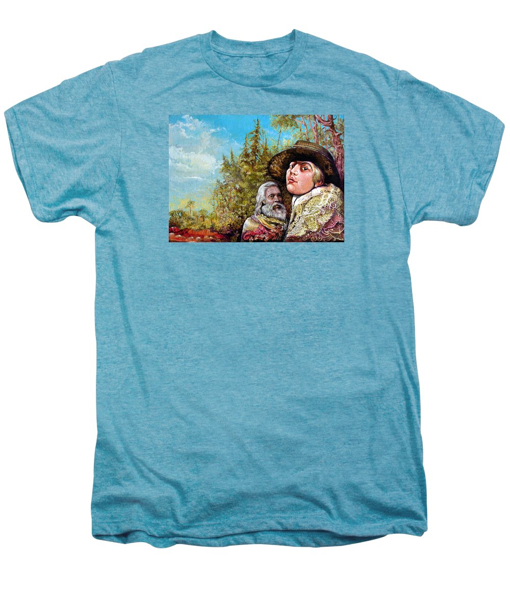 Surrealism Men's Premium T-Shirt featuring the painting The Dauphin And Captain Nemo Discovering Bogomils Island by Otto Rapp