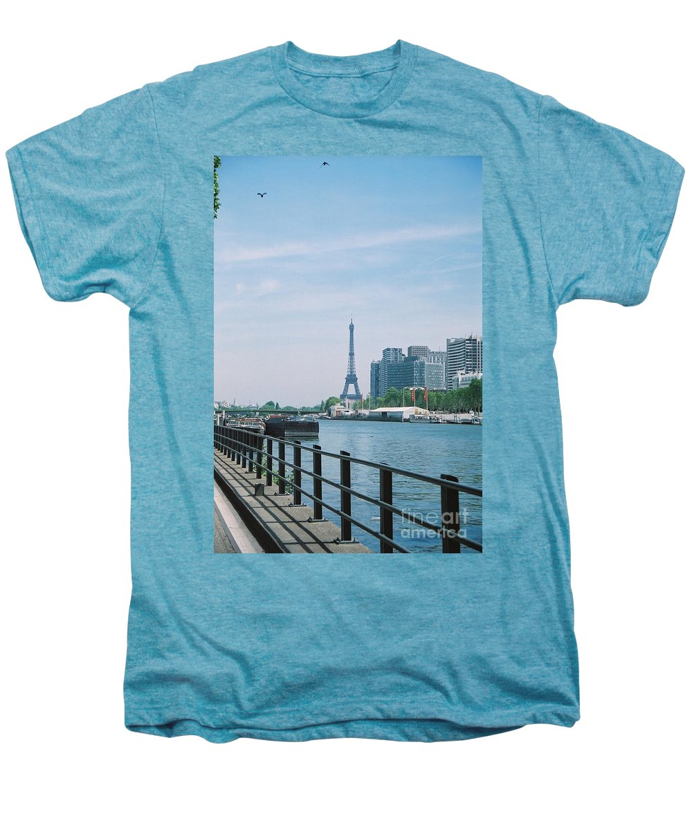 The Eiffel Tower Men's Premium T-Shirt featuring the photograph The Eiffel Tower And The Seine River by Nadine Rippelmeyer