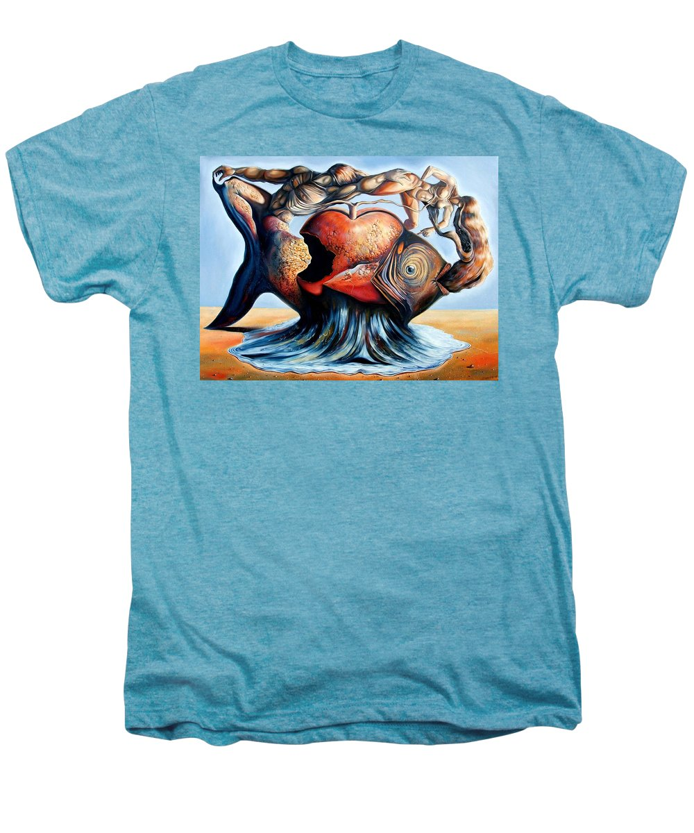 Surrealism Men's Premium T-Shirt featuring the painting The Eternal Question Of Time by Darwin Leon