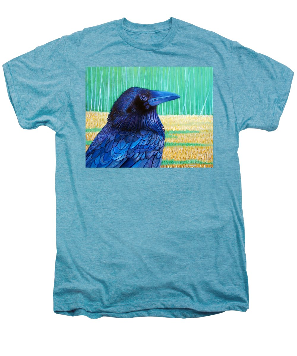 Raven Men's Premium T-Shirt featuring the painting The Field Of Dreams by Brian Commerford