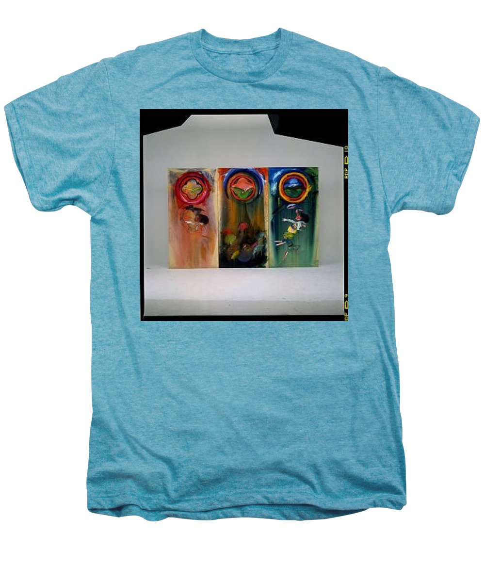 Fall From Grace Men's Premium T-Shirt featuring the painting The Fruit Machine Stops by Charles Stuart
