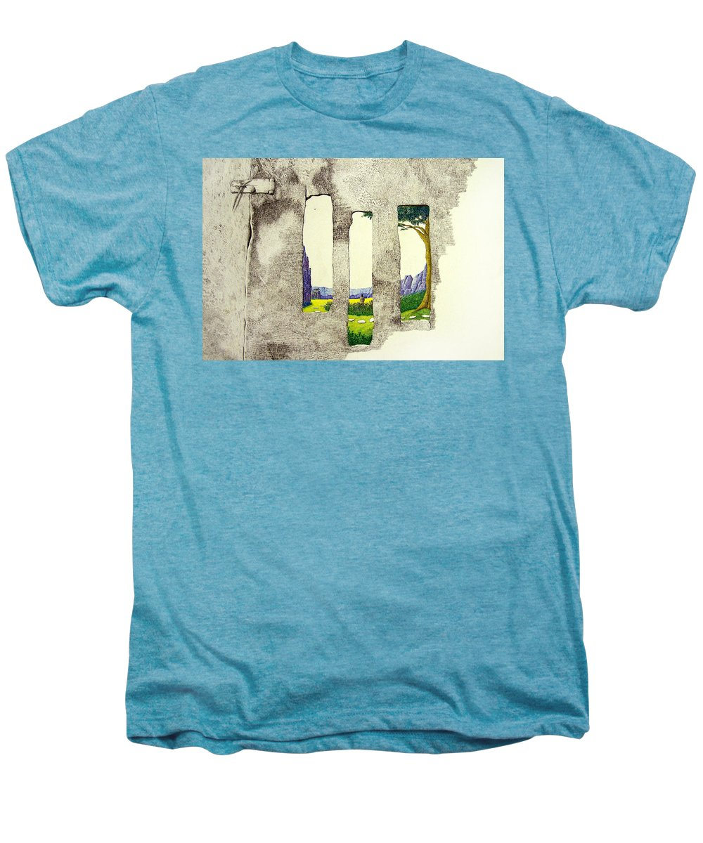 Imaginary Landscape. Men's Premium T-Shirt featuring the painting The Garden by A Robert Malcom