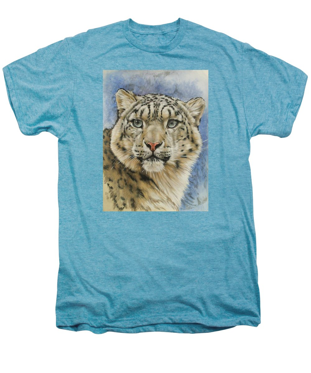 Snow Loepard Men's Premium T-Shirt featuring the mixed media The Gaze by Barbara Keith