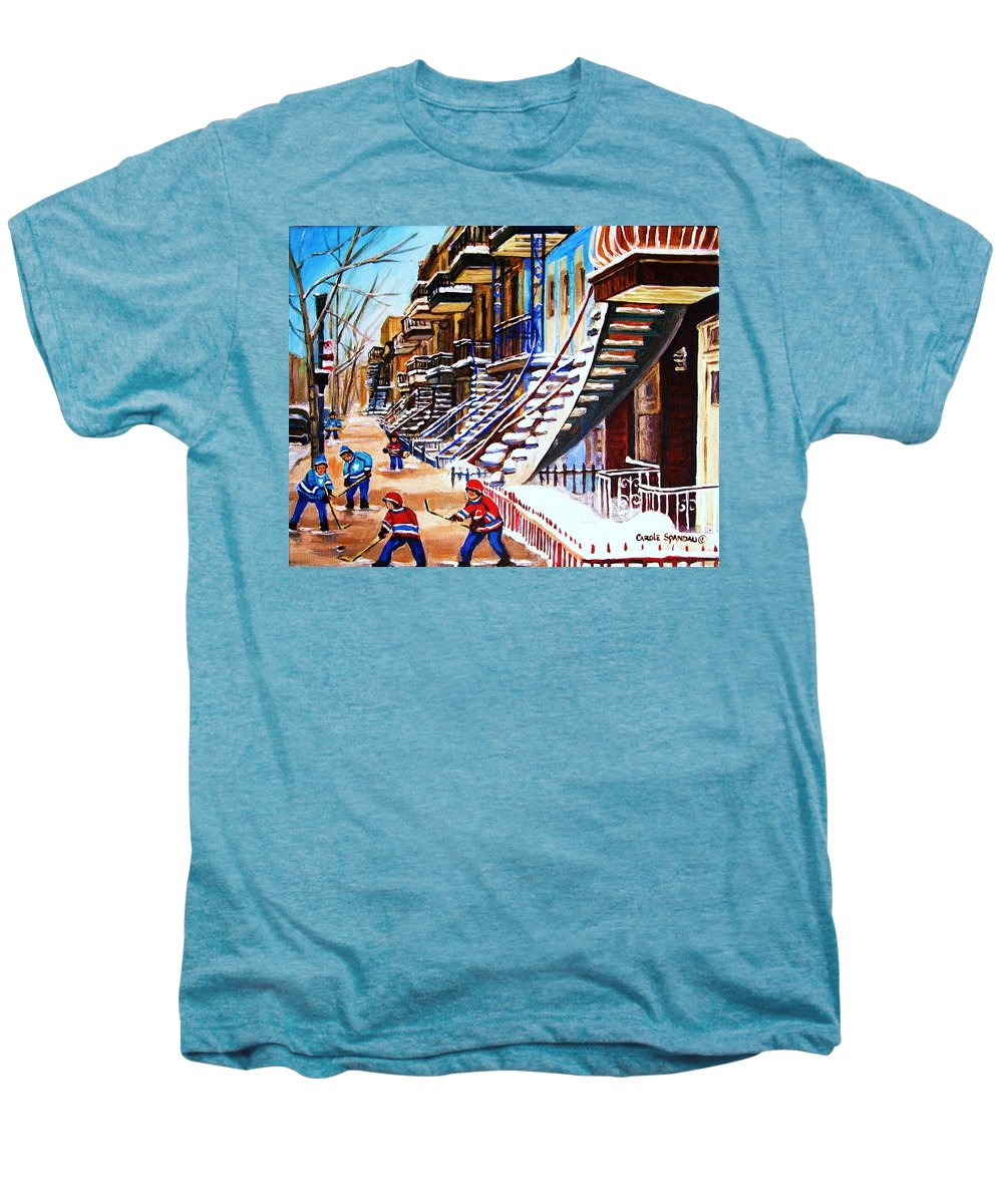 Hockey Men's Premium T-Shirt featuring the painting The Gray Staircase by Carole Spandau