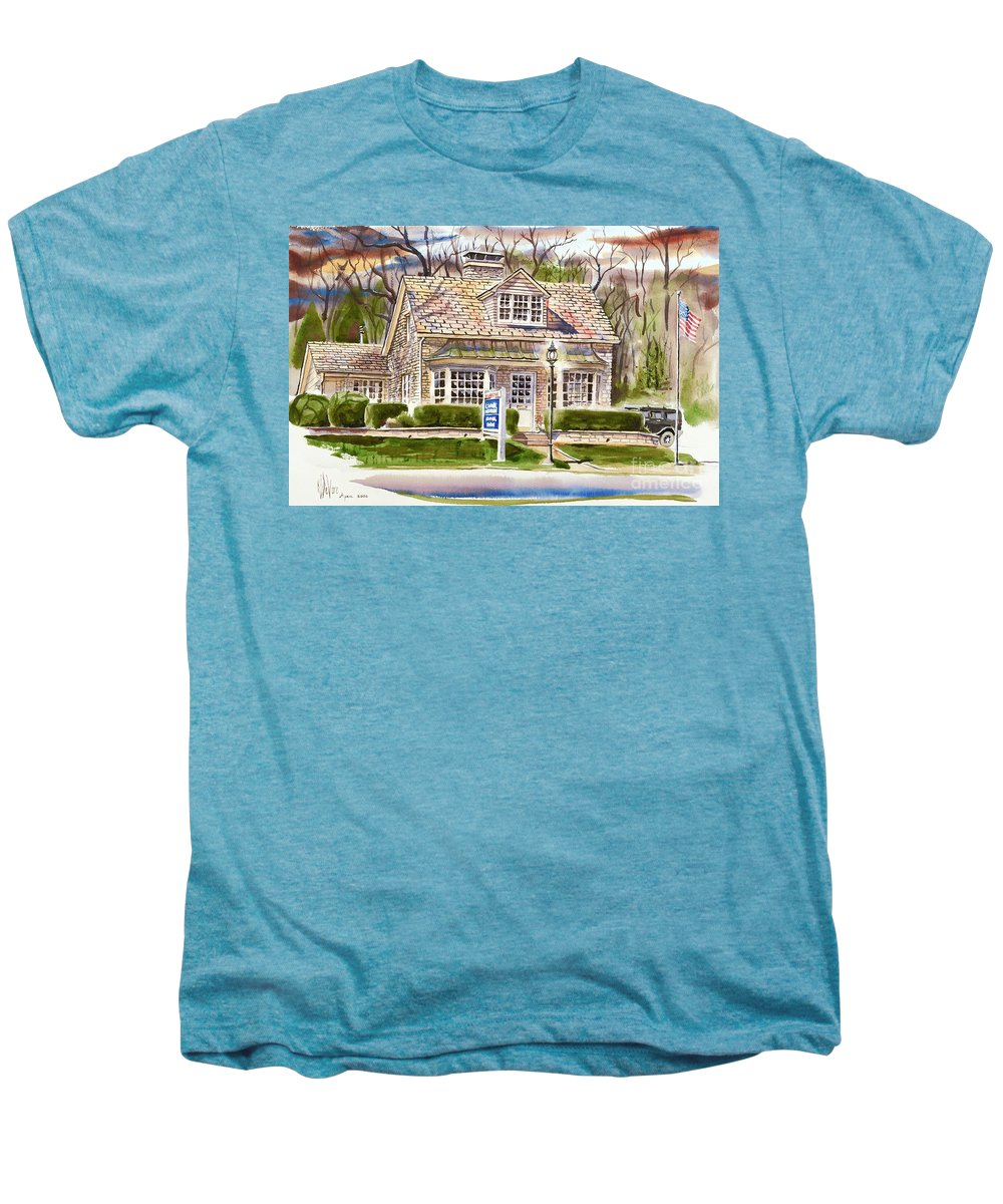The Greystone Inn In Brigadoon Men's Premium T-Shirt featuring the painting The Greystone Inn In Brigadoon by Kip DeVore