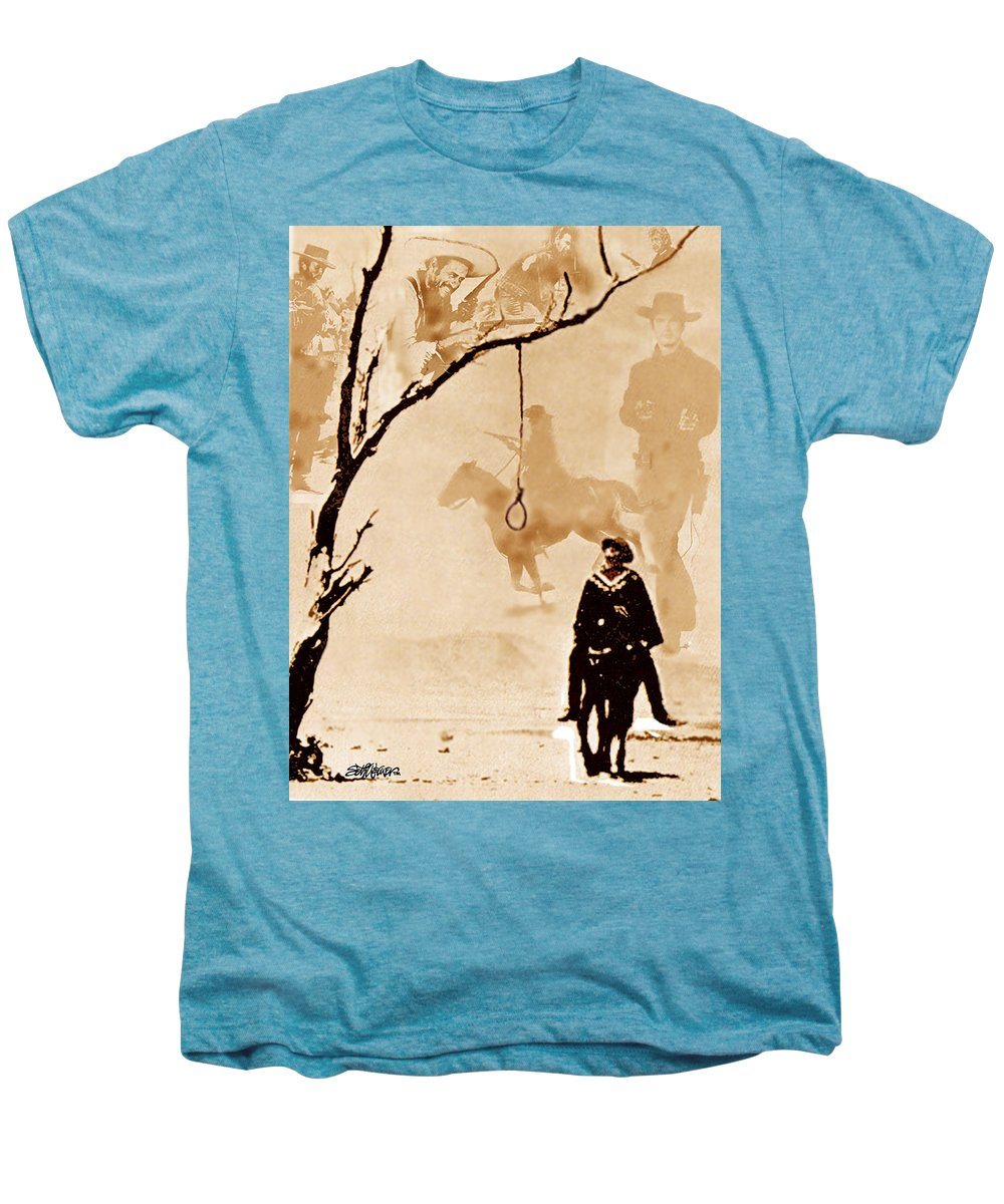Clint Eastwood Men's Premium T-Shirt featuring the digital art The Hangman's Tree by Seth Weaver
