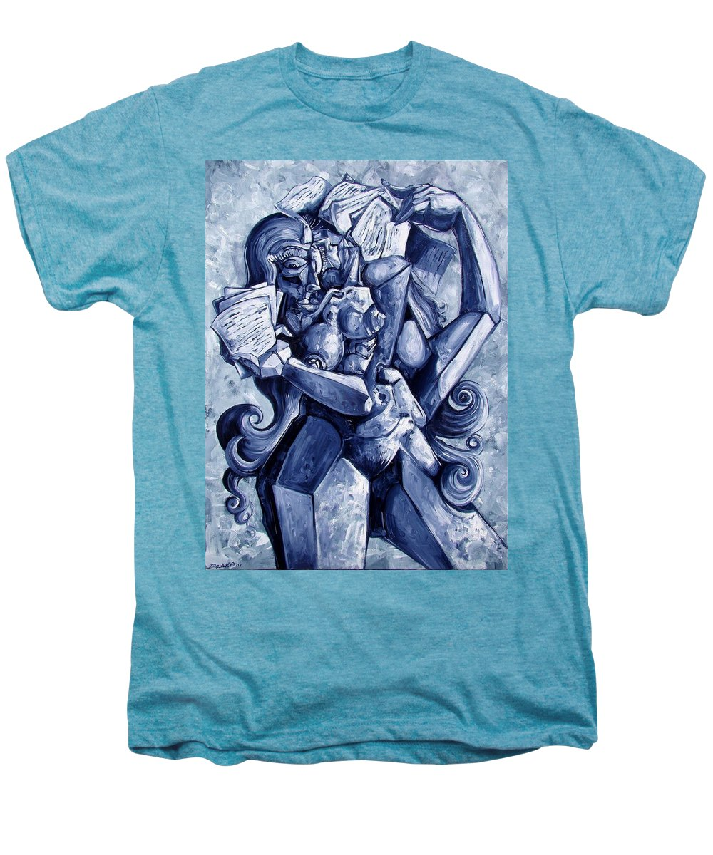 Surrealism Men's Premium T-Shirt featuring the painting The Letters by Darwin Leon
