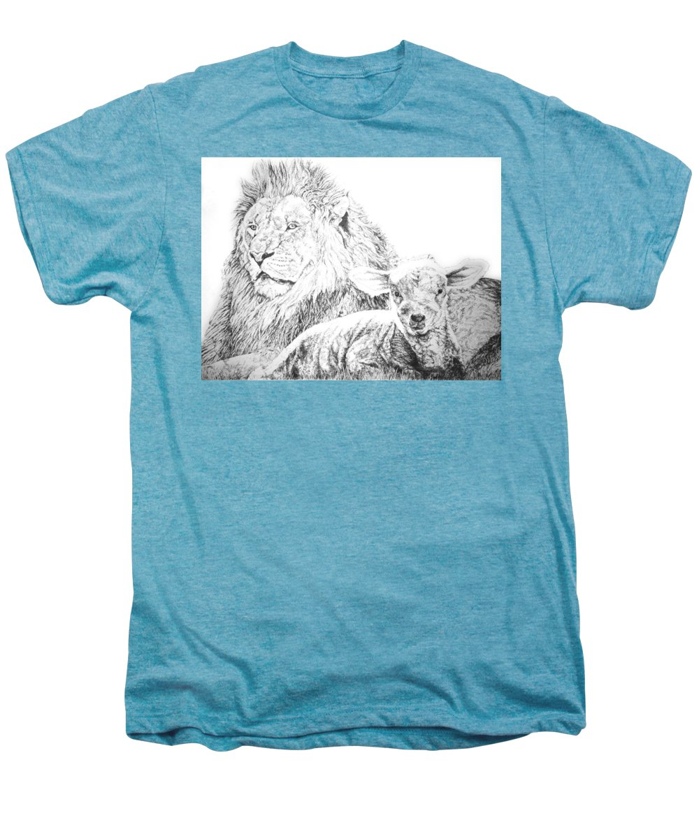 Lion Men's Premium T-Shirt featuring the drawing The Lion And The Lamb by Bryan Bustard