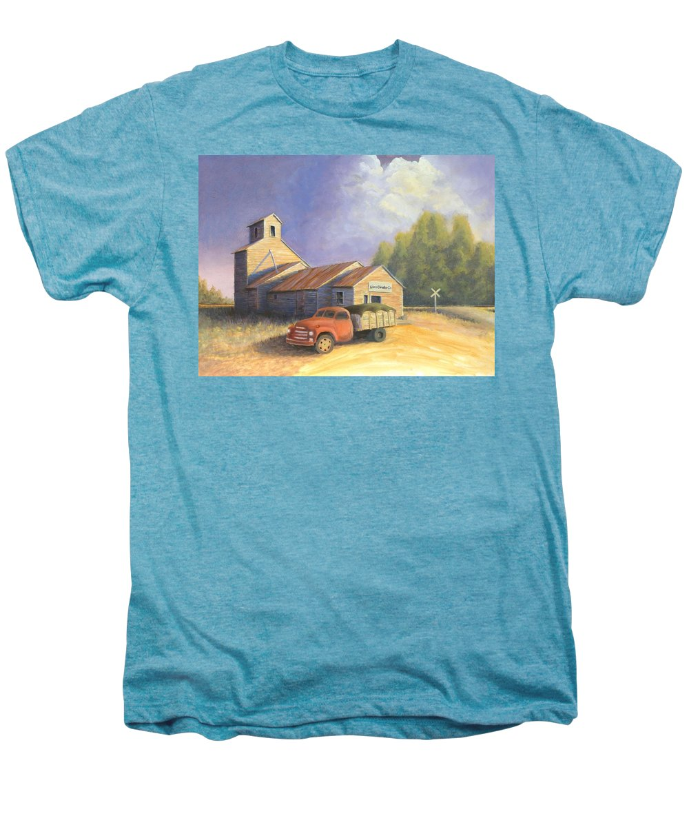 Nebraska Men's Premium T-Shirt featuring the painting The Lisco Elevator by Jerry McElroy