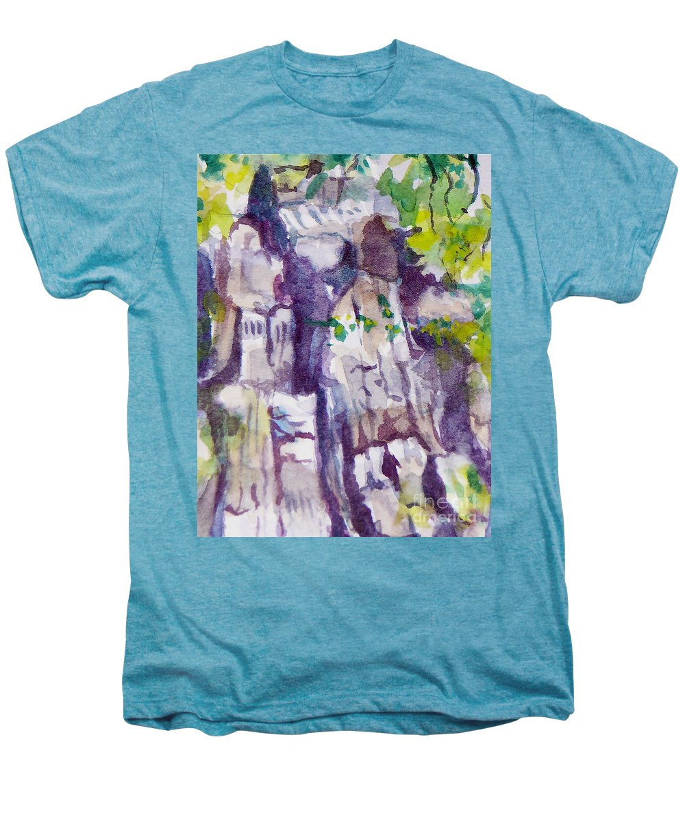Purple Men's Premium T-Shirt featuring the painting The Little Climbing Wall by Jan Bennicoff