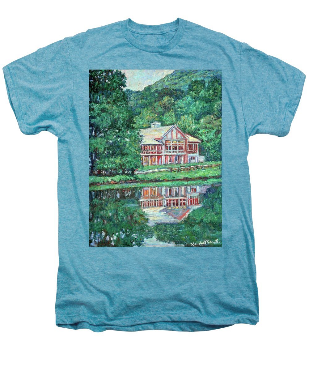 Lodge Paintings Men's Premium T-Shirt featuring the painting The Lodge At Peaks Of Otter by Kendall Kessler